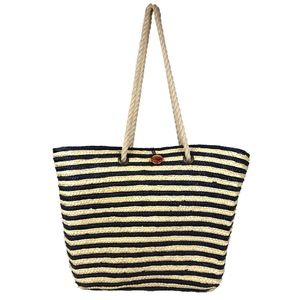 LANCOME Straw Striped Navy/Tan Large Casual Beach